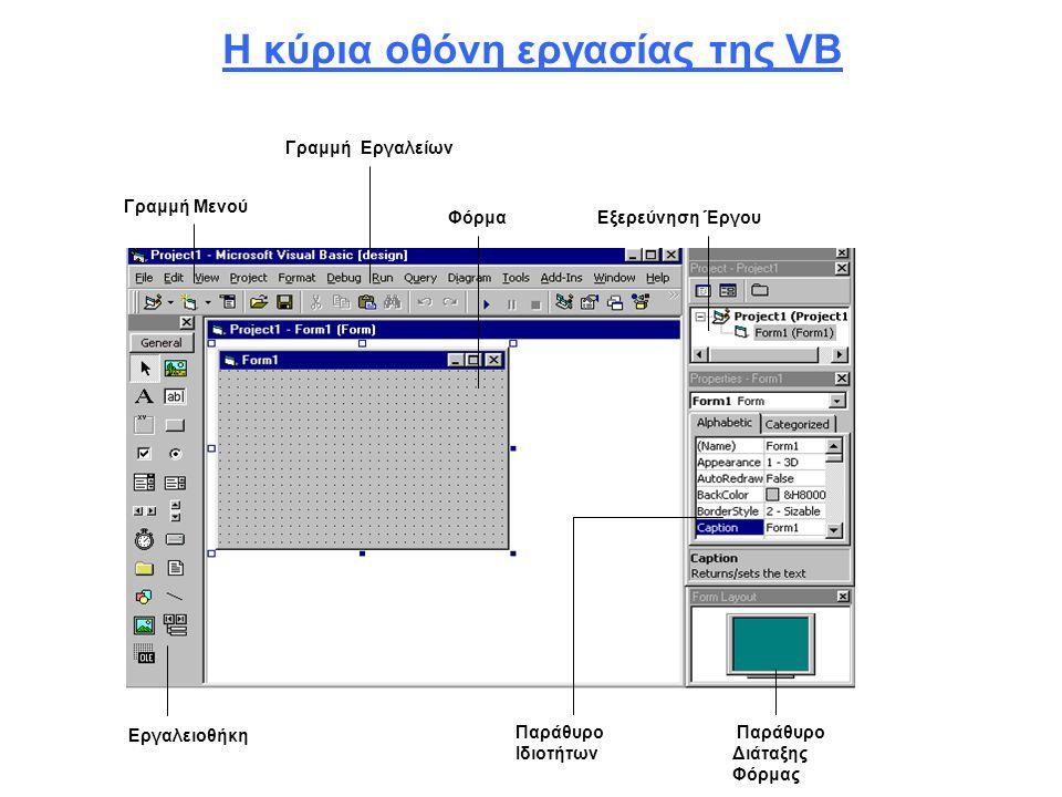 Η κύρια οθόνη εργασίας της VB