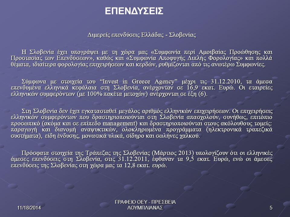 ΕΠΕΝΔΥΣΕΙΣ Διμερείς επενδύσεις Ελλάδας - Σλοβενίας