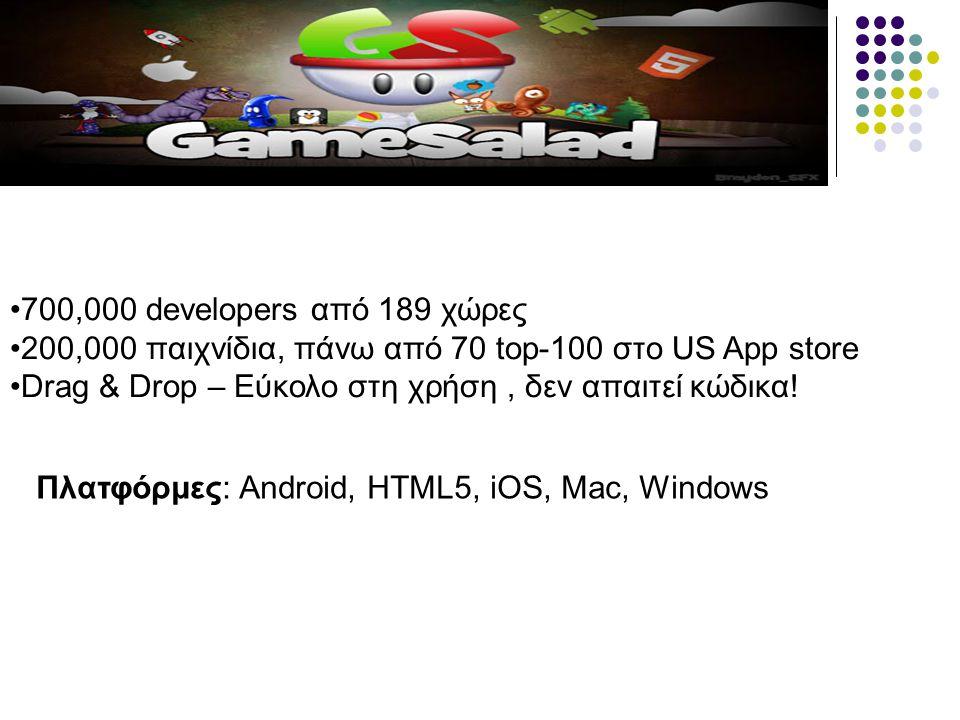 700,000 developers από 189 χώρες 200,000 παιχνίδια, πάνω από 70 top-100 στο US App store. Drag & Drop – Εύκολο στη χρήση , δεν απαιτεί κώδικα!