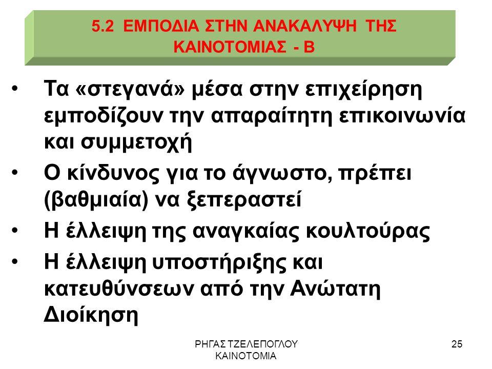 5.2 ΕΜΠΟΔΙΑ ΣΤΗΝ ΑΝΑΚΑΛΥΨΗ ΤΗΣ ΚΑΙΝΟΤΟΜΙΑΣ - Β