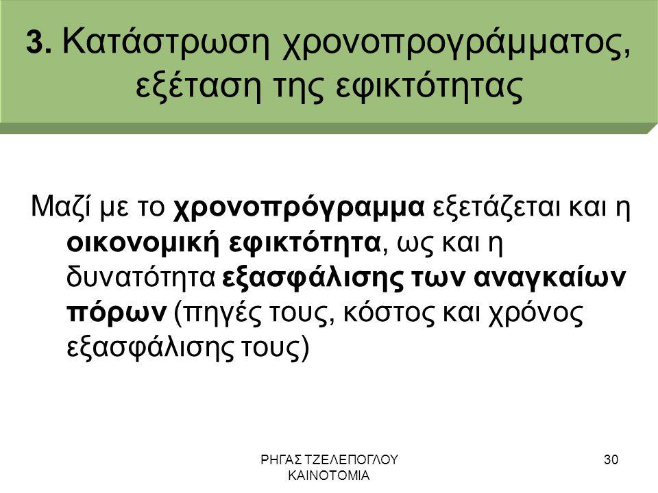 3. Κατάστρωση χρονοπρογράμματος, εξέταση της εφικτότητας