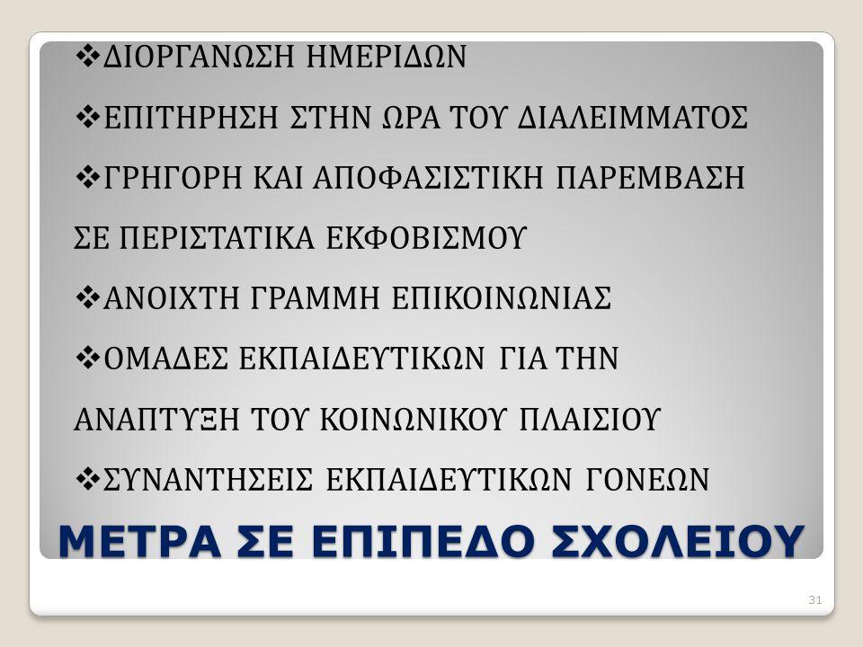 ΜΕΤΡΑ ΣΕ ΕΠΙΠΕΔΟ ΣΧΟΛΕΙΟΥ