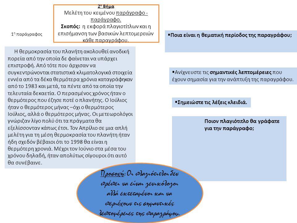 Μελέτη του κειμένου παράγραφο - παράγραφο.
