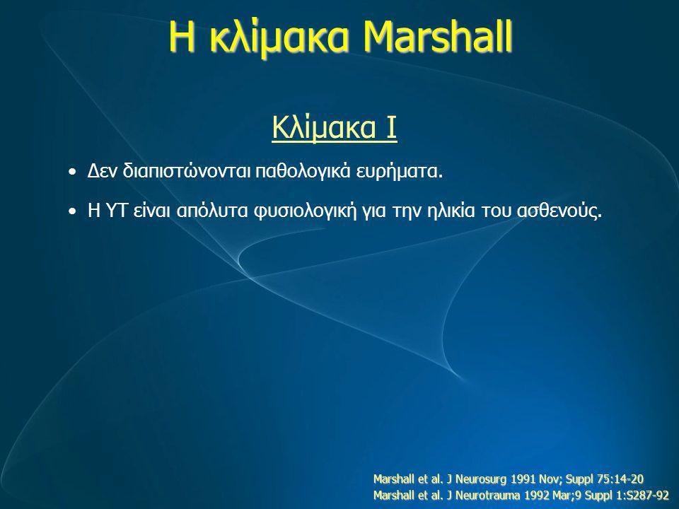 Η κλίμακα Marshall Κλίμακα Ι Δεν διαπιστώνονται παθολογικά ευρήματα.