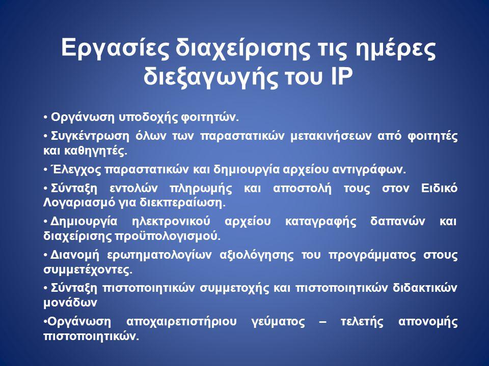 Εργασίες διαχείρισης τις ημέρες διεξαγωγής του IP
