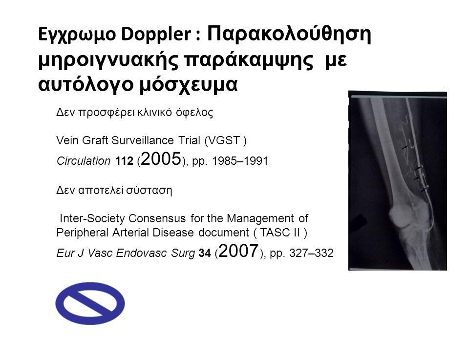 Εγχρωμο Doppler : Παρακολούθηση μηροιγνυακής παράκαμψης με αυτόλογο μόσχευμα