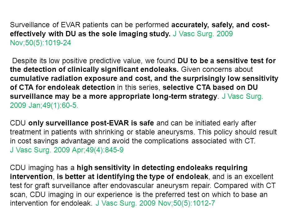 Surveillance of EVAR patients can be performed accurately, safely, and cost-effectively with DU as the sole imaging study. J Vasc Surg. 2009 Nov;50(5):1019-24