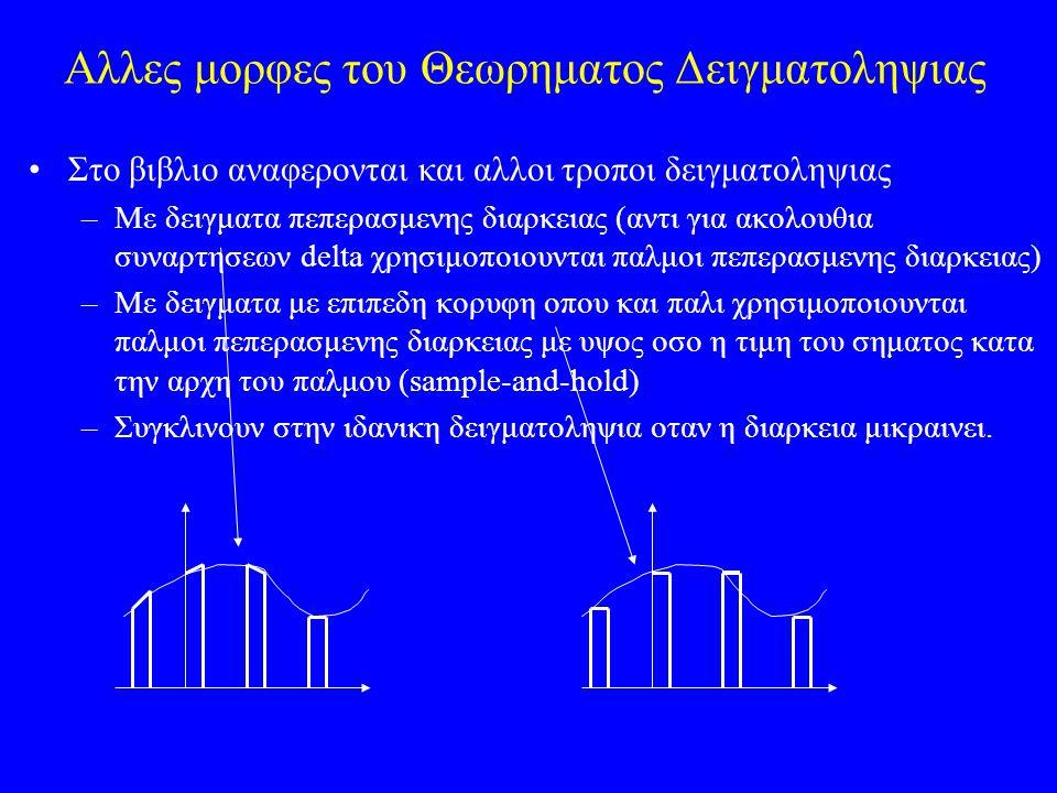 Αλλες μορφες του Θεωρηματος Δειγματοληψιας