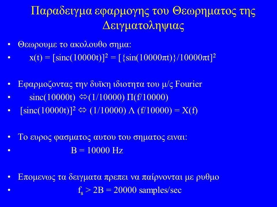 Παραδειγμα εφαρμογης του Θεωρηματος της Δειγματοληψιας