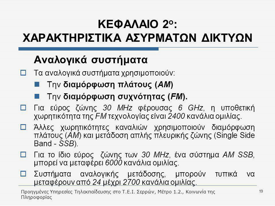 ΚΕΦΑΛΑΙΟ 2ο: ΧΑΡΑΚΤΗΡΙΣΤΙΚΑ ΑΣΥΡΜΑΤΩΝ ΔΙΚΤΥΩΝ