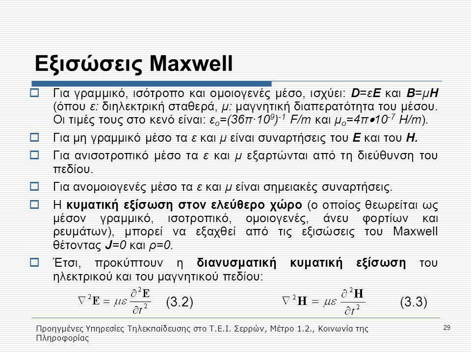 Εξισώσεις Maxwell (3.2) (3.3)
