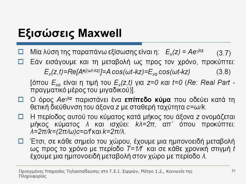 Εξισώσεις Maxwell Mία λύση της παραπάνω εξίσωσης είναι η: Ex(z) = Ae-jkz.