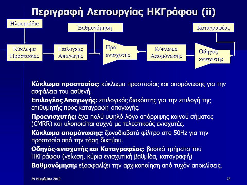 Περιγραφή Λειτουργίας ΗΚΓράφου (ii)