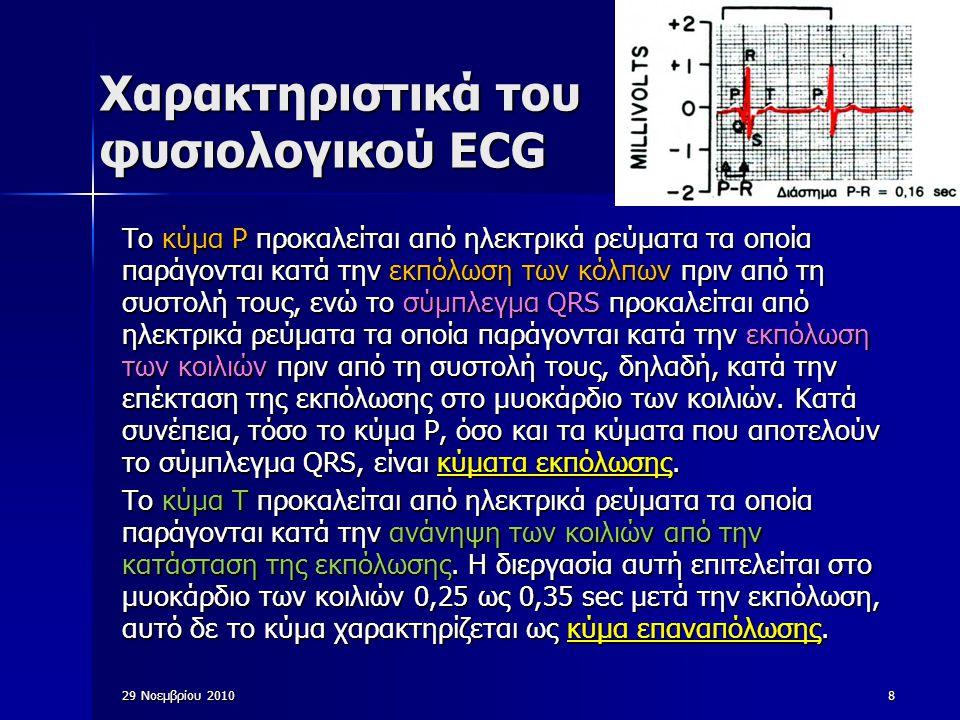 Χαρακτηριστικά του φυσιολογικού ECG