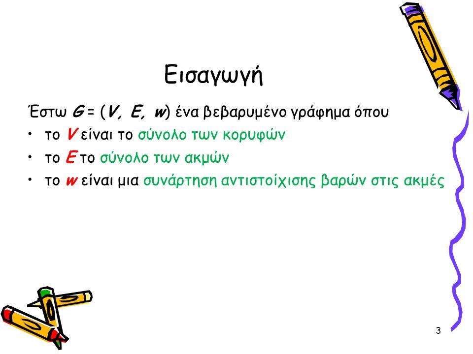 Εισαγωγή Έστω G = (V, E, w) ένα βεβαρυμένο γράφημα όπου