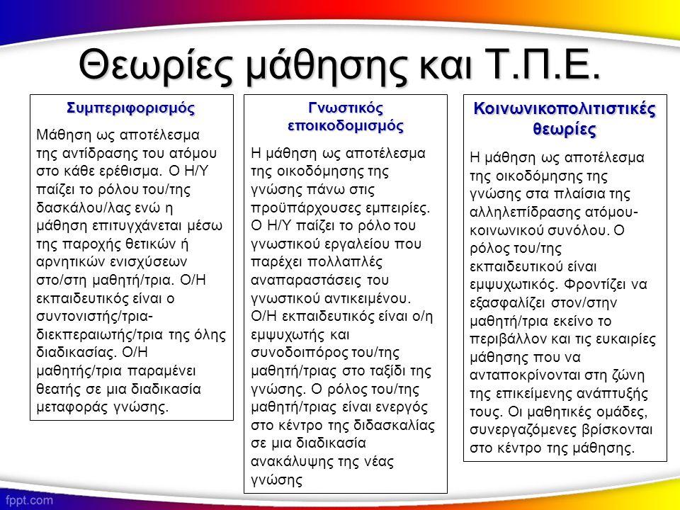 Θεωρίες μάθησης και Τ.Π.Ε.