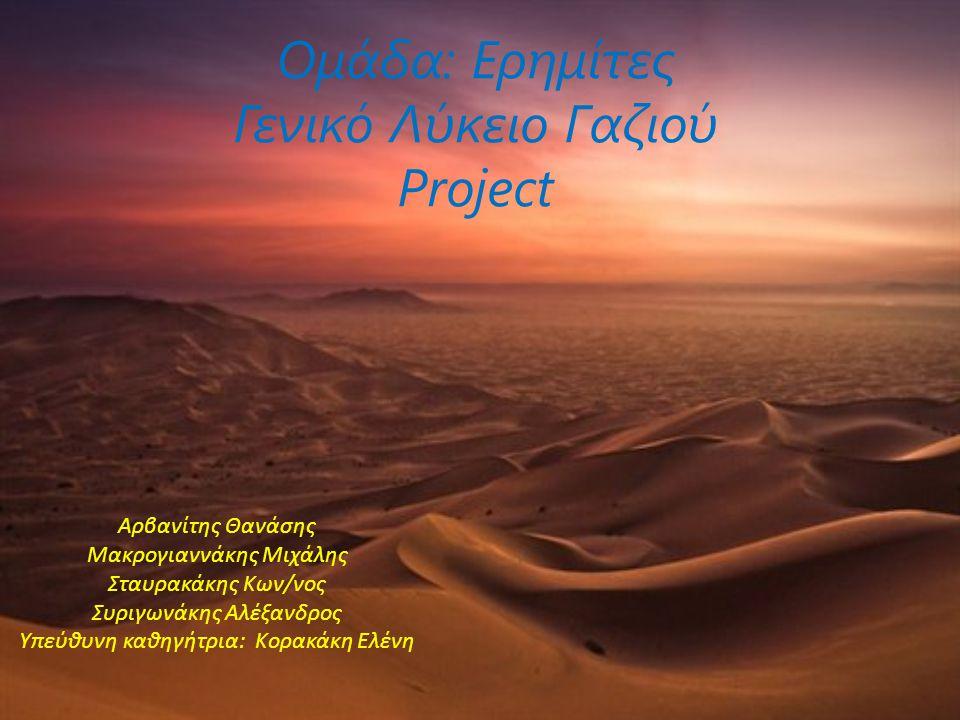 Ομάδα: Ερημίτες Γενικό Λύκειο Γαζιού Project
