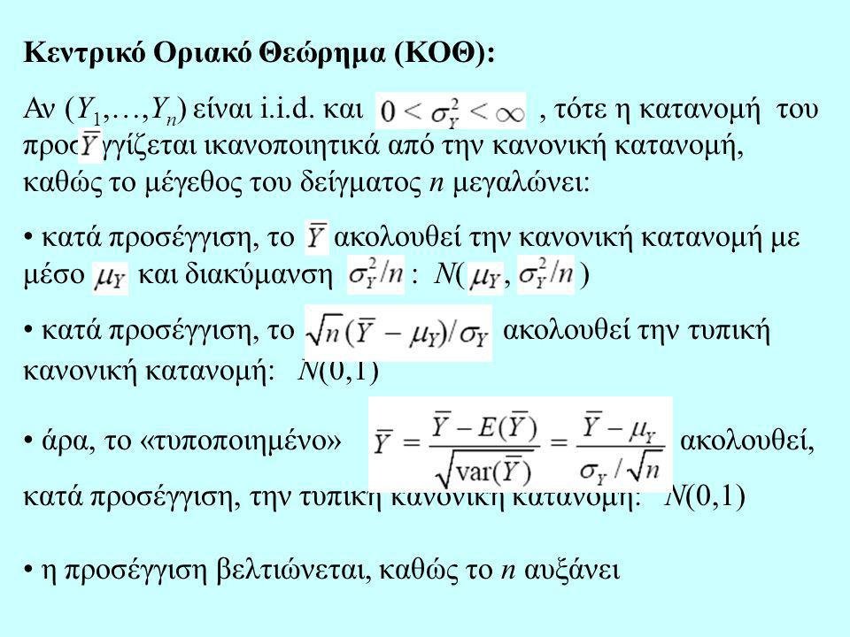 Κεντρικό Οριακό Θεώρημα (ΚΟΘ):