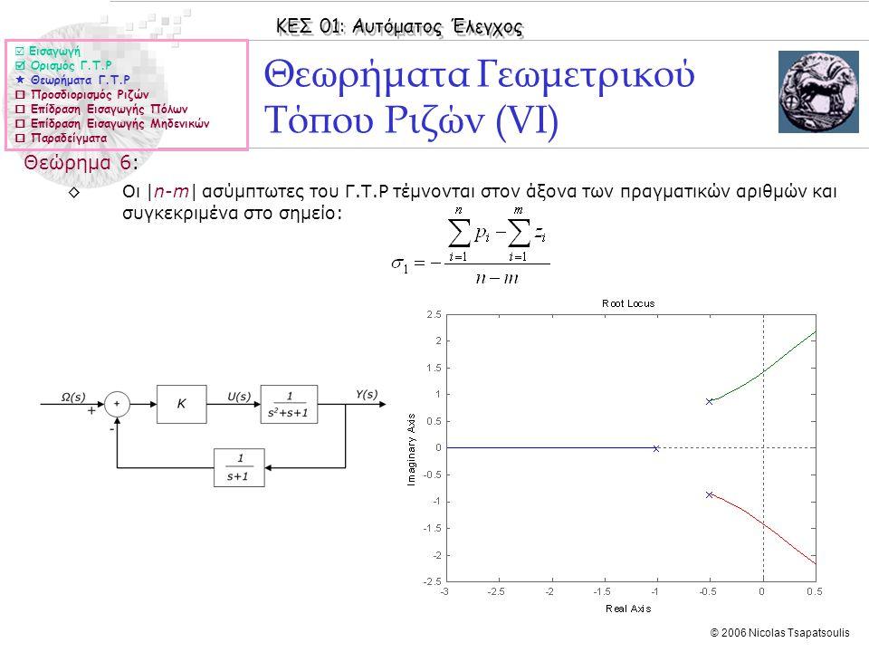 Θεωρήματα Γεωμετρικού Τόπου Ριζών (VΙ)