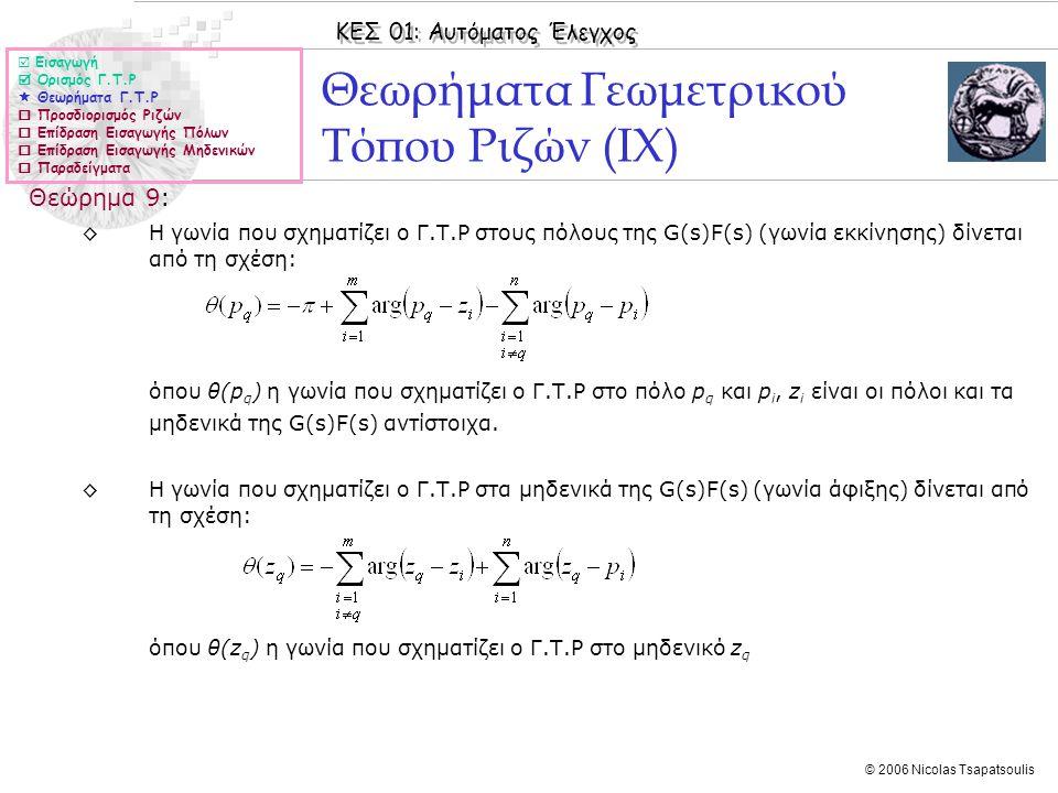 Θεωρήματα Γεωμετρικού Τόπου Ριζών (ΙX)