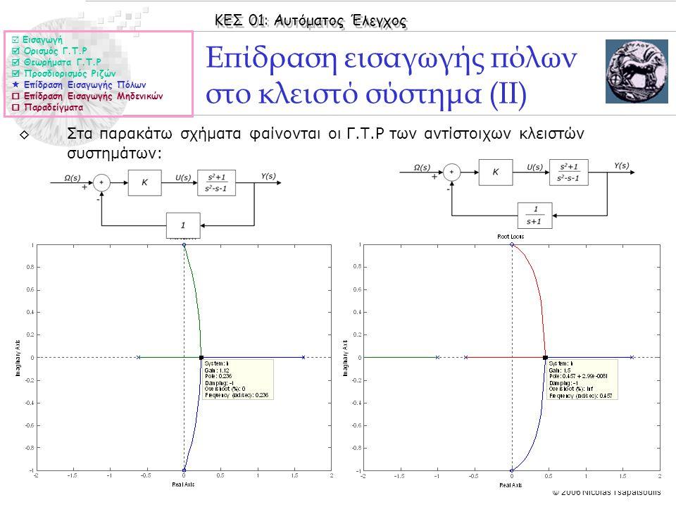 Επίδραση εισαγωγής πόλων στο κλειστό σύστημα (ΙΙ)