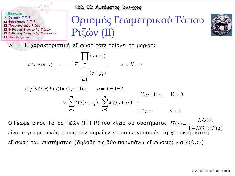 Ορισμός Γεωμετρικού Τόπου Ριζών (ΙΙ)