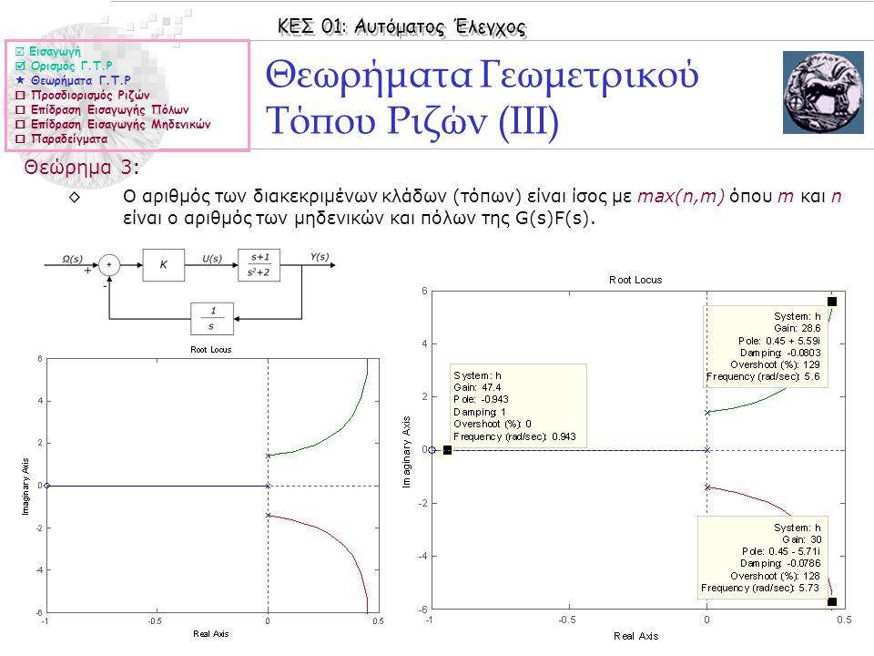 Θεωρήματα Γεωμετρικού Τόπου Ριζών (IIΙ)