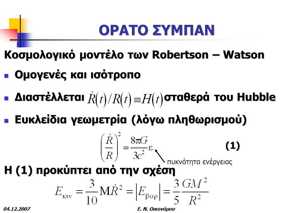 ΟΡΑΤΟ ΣΥΜΠΑΝ Κοσμολογικό μοντέλο των Robertson – Watson