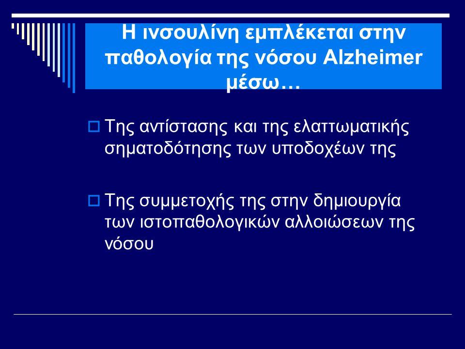 Η ινσουλίνη εμπλέκεται στην παθολογία της νόσου Alzheimer μέσω…