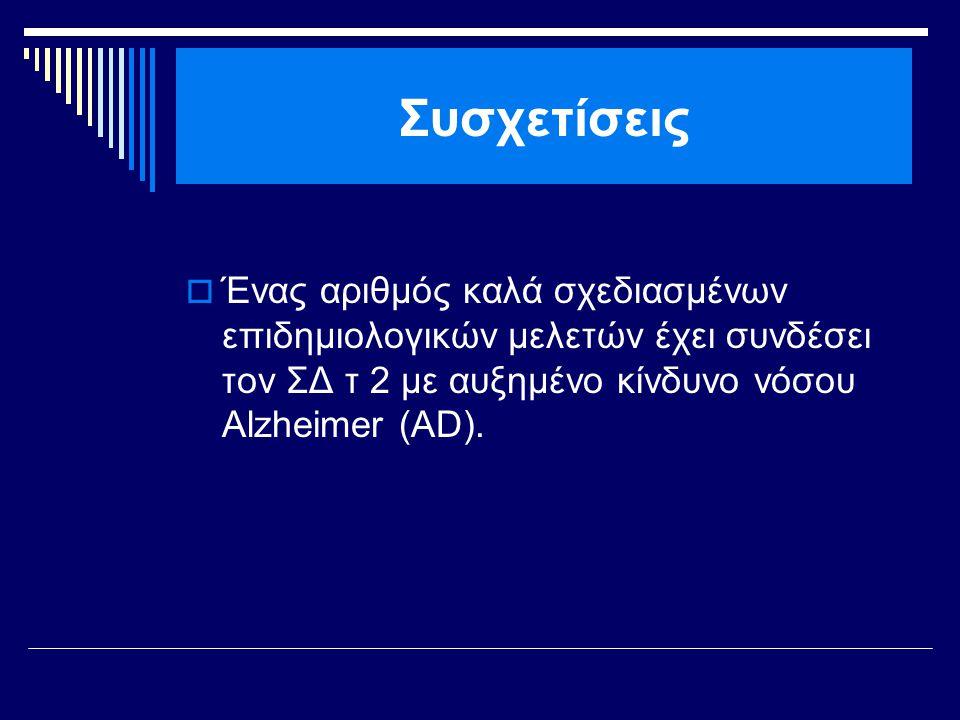 Συσχετίσεις Ένας αριθμός καλά σχεδιασμένων επιδημιολογικών μελετών έχει συνδέσει τον ΣΔ τ 2 με αυξημένο κίνδυνο νόσου Alzheimer (AD).