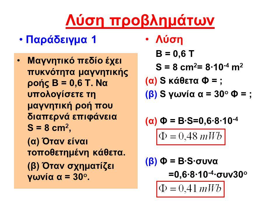 Λύση προβλημάτων Παράδειγμα 1 Λύση Β = 0,6 Τ S = 8 cm2= 8·10-4 m2