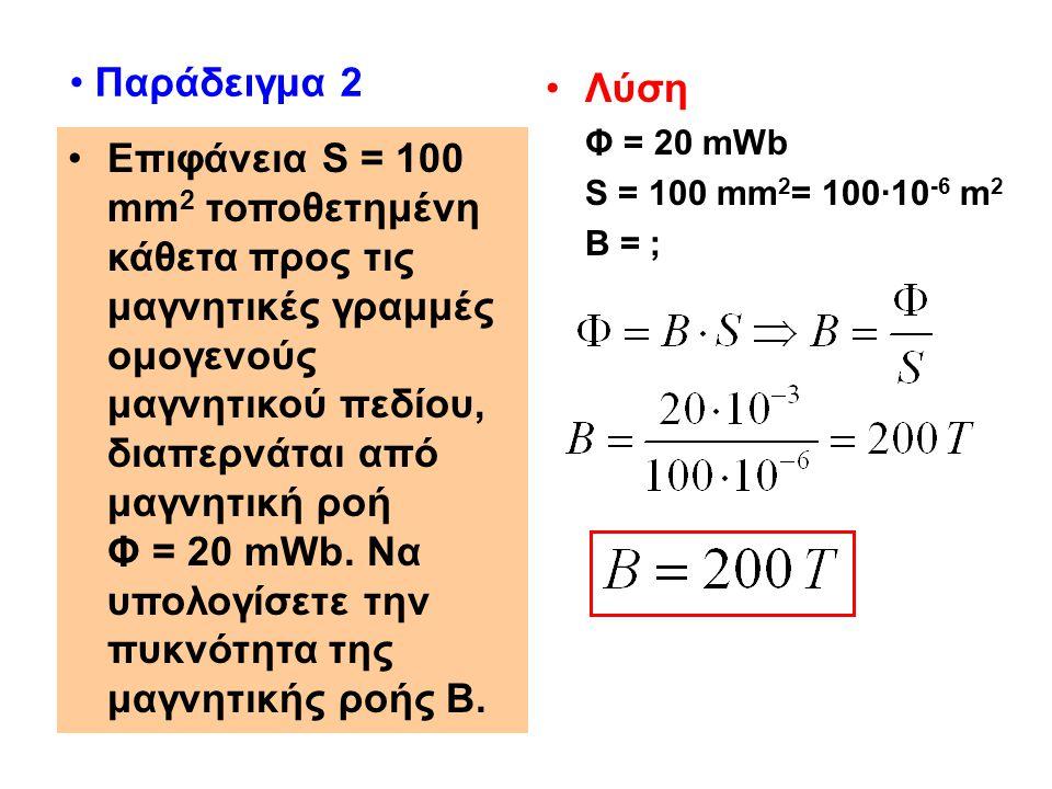 Παράδειγμα 2 Λύση. Φ = 20 mWb. S = 100 mm2= 100·10-6 m2. Β = ;