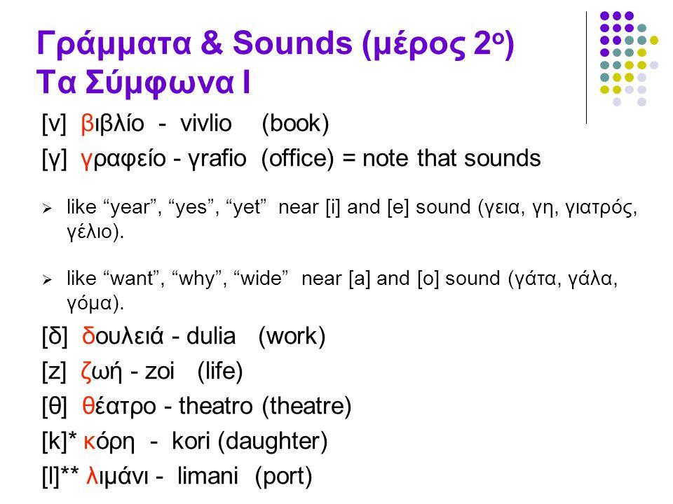 Γράμματα & Sounds (μέρος 2ο) Τα Σύμφωνα Ι