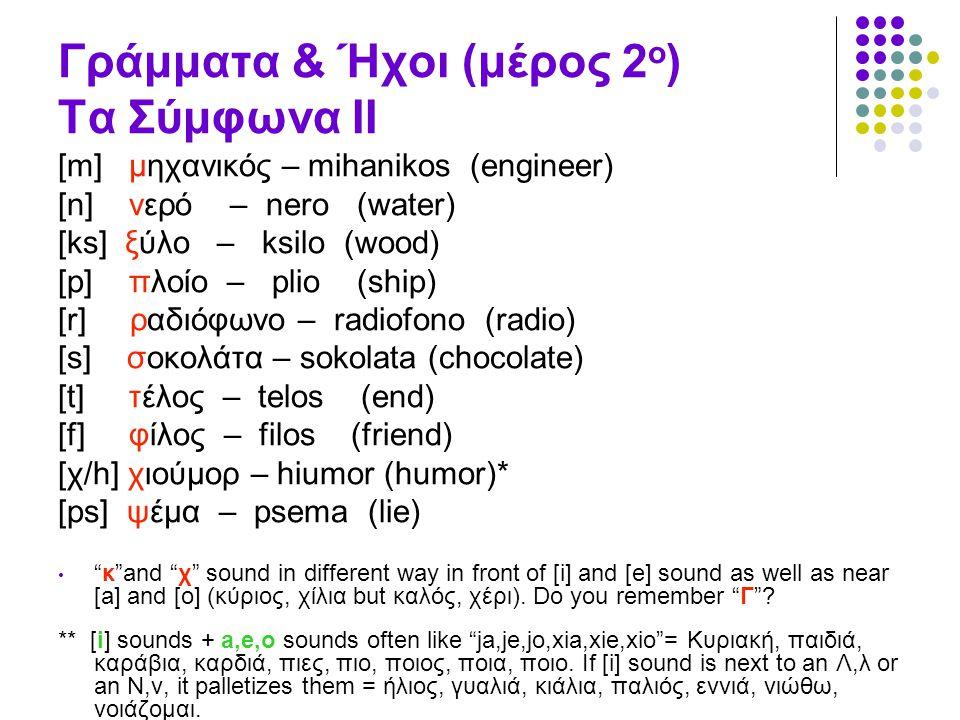 Γράμματα & Ήχοι (μέρος 2ο) Τα Σύμφωνα II
