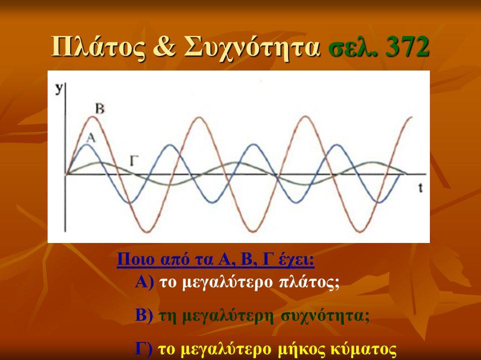 Πλάτος & Συχνότητα σελ. 372 Ποιο από τα Α, Β, Γ έχει: Α) το μεγαλύτερο πλάτος; Β) τη μεγαλύτερη συχνότητα;