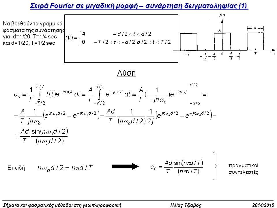 Λύση Σειρά Fourier σε μιγαδική μορφή – συνάρτηση δειγματοληψίας (1)