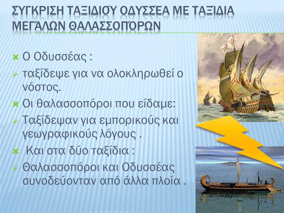 Σύγκριση ταξιδιού Οδυσσέα με ταξίδια μεγάλων θαλασσοπόρων