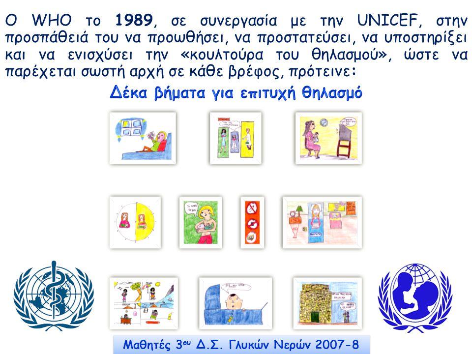 Δέκα βήματα για επιτυχή θηλασμό Μαθητές 3ου Δ.Σ. Γλυκών Νερών 2007-8
