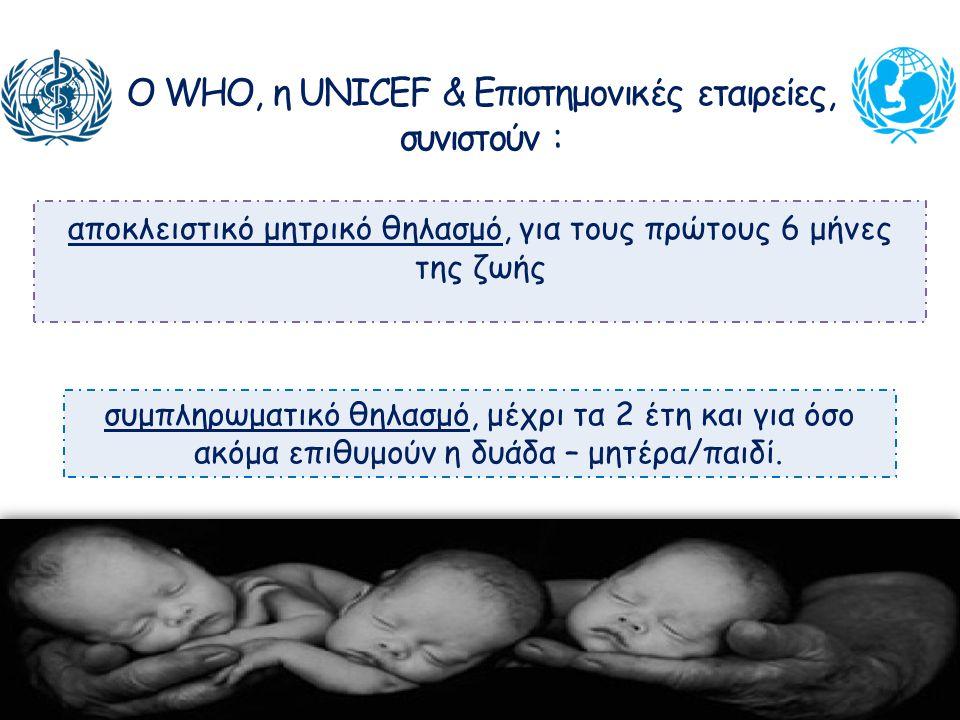 Ο WHO, η UNICEF & Επιστημονικές εταιρείες, συνιστούν :