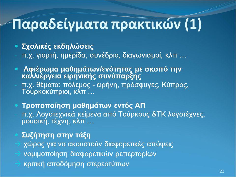 Παραδείγματα πρακτικών (1)