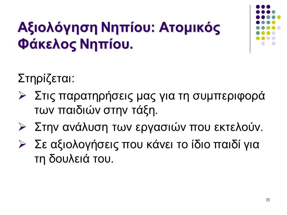 Αξιολόγηση Νηπίου: Ατομικός Φάκελος Νηπίου.