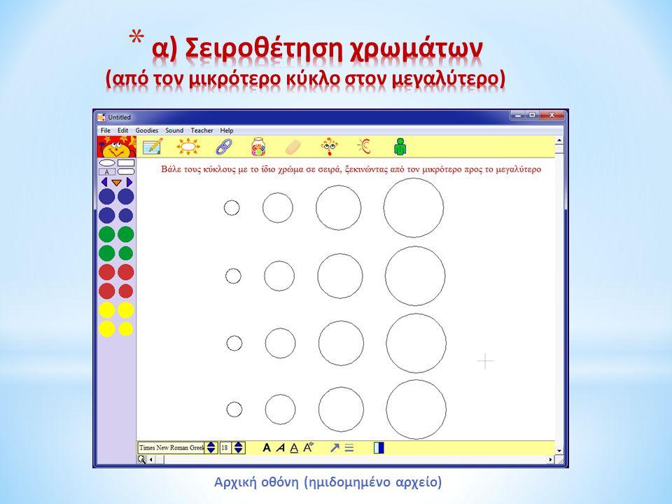 α) Σειροθέτηση χρωμάτων (από τον μικρότερο κύκλο στον μεγαλύτερο)