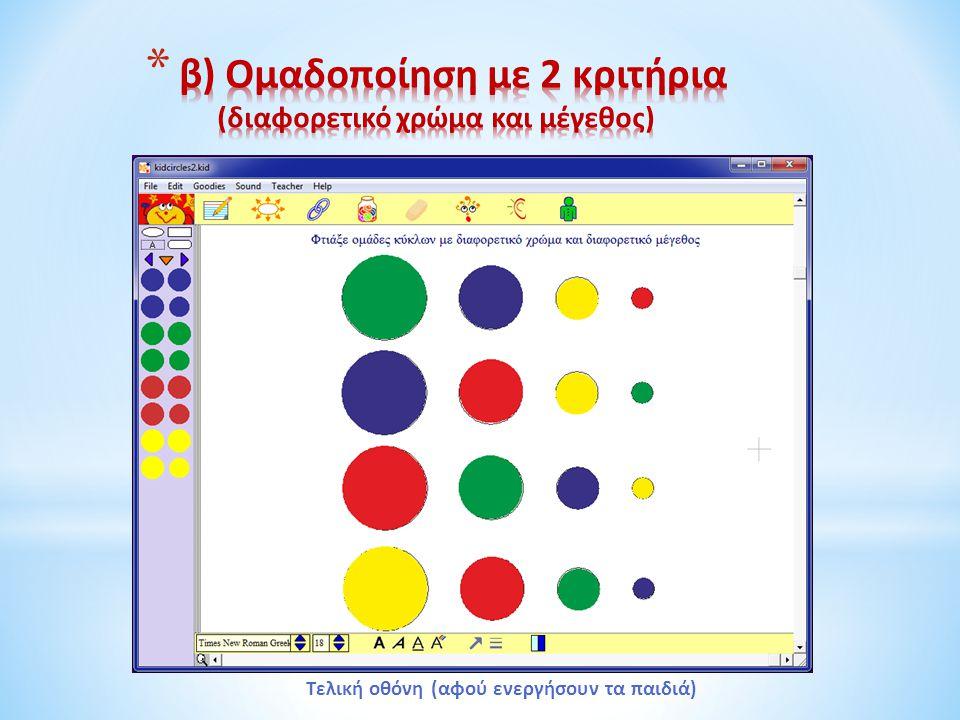 β) Ομαδοποίηση με 2 κριτήρια (διαφορετικό χρώμα και μέγεθος)