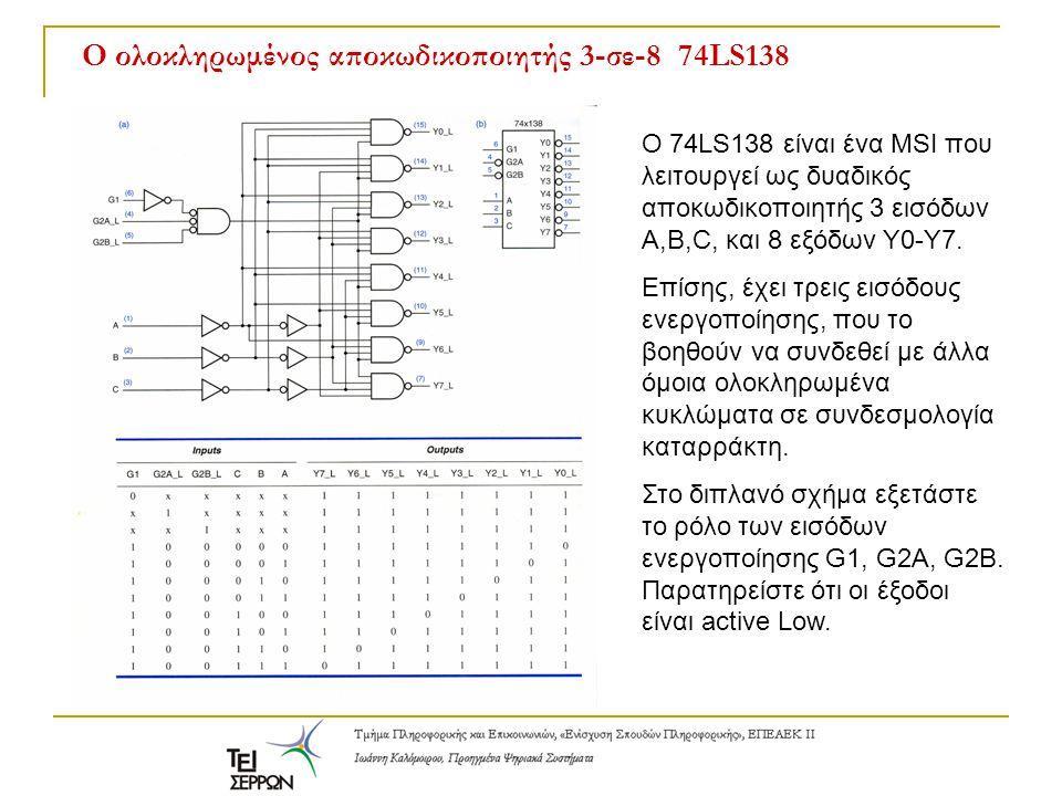 Ο ολοκληρωμένος αποκωδικοποιητής 3-σε-8 74LS138