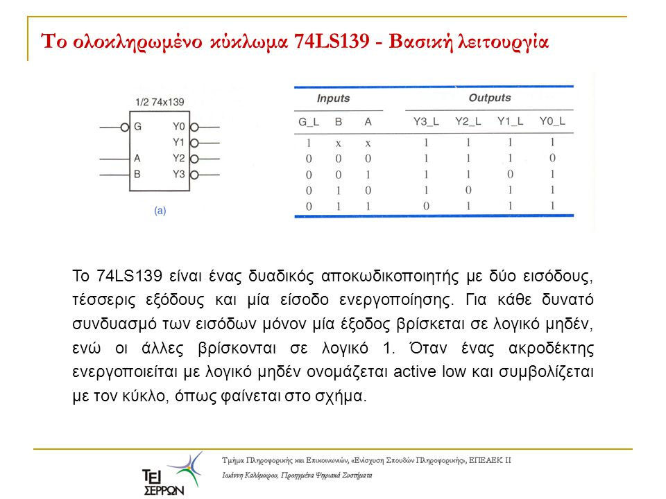 Το ολοκληρωμένο κύκλωμα 74LS139 - Βασική λειτουργία