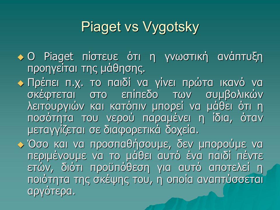 Piaget vs Vygotsky Ο Piaget πίστευε ότι η γνωστική ανάπτυξη προηγείται της μάθησης.