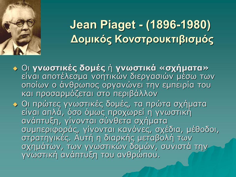 Jean Piaget - (1896-1980) Δομικός Κονστρουκτιβισμός