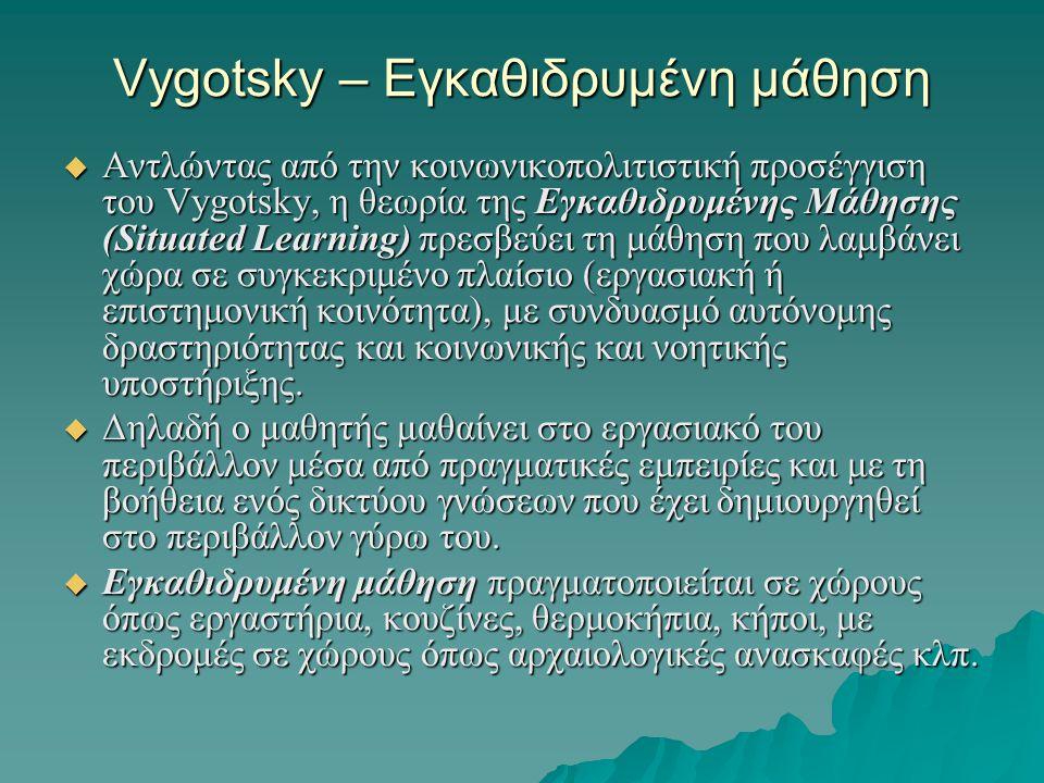 Vygotsky – Εγκαθιδρυμένη μάθηση