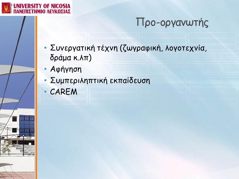 Προ-οργανωτής Συνεργατική τέχνη (ζωγραφική, λογοτεχνία, δράμα κ.λπ)