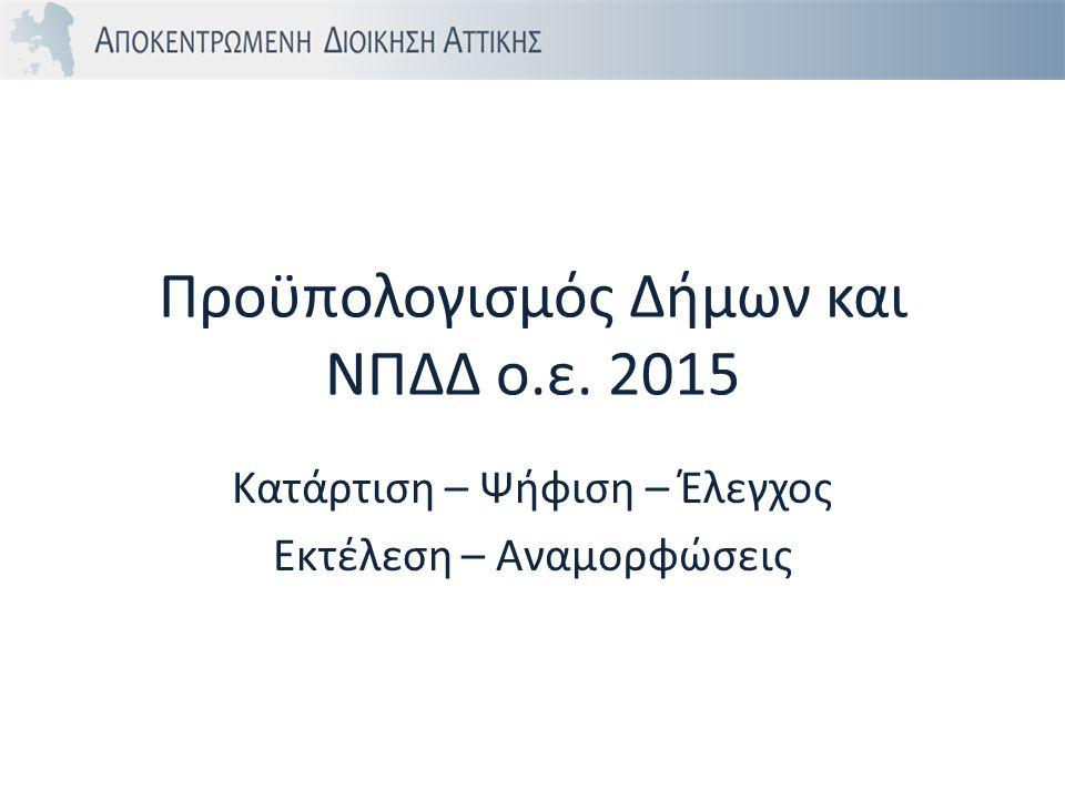 Προϋπολογισμός Δήμων και ΝΠΔΔ ο.ε. 2015